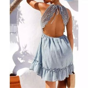 Dresses - Sexy Blue Bohemian Backless Summer Dress